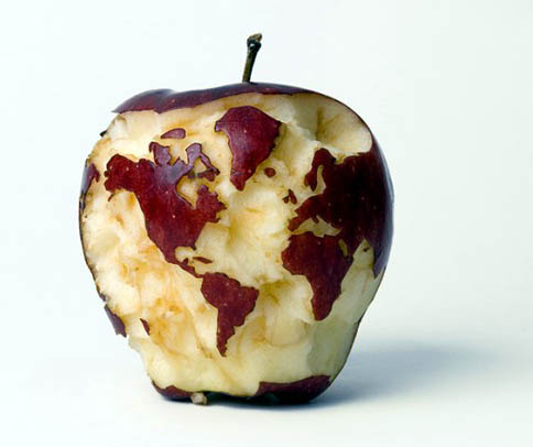 Funny world map on food